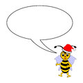 A funny christmas cartoon bee with a talking bubbl bubble vector art illustration on white background Royalty Free Stock Photos