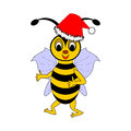 A funny christmas cartoon bee vector art illustration on white background Stock Photo