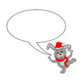 A funny christmas cartoon rabbit with a speech bubble vector art illustration on white background Royalty Free Stock Images