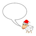 A funny christmas cartoon sheep with a speech bubb bubble vector art illustration on white background Stock Photos