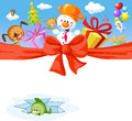 Funny christmas design with ribbon snowman and animals Stock Photo