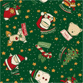 Funny christmas elements santa claus vector seamless pattern in custom colors Royalty Free Stock Image