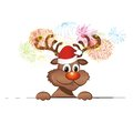 Funny christmas reindeer with decoration Royalty Free Stock Images