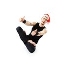 Funny Christmas yoga. Stock Photo