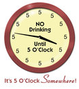 Funny clock all fives no drinking until five an illustration of a humorous that has with a message that says oclock and its oclock Royalty Free Stock Photography