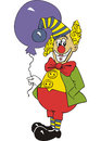 Funny clown with air balloon vector illustration Stock Photography