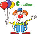 Funny clown cartoon character with balloons and letter c illustration isolated on white Stock Photo