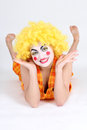 Funny clown in costume and make-up Royalty Free Stock Photography