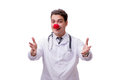 The funny clown doctor isolated on the white background