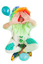 Funny clown framing with hands Royalty Free Stock Photo