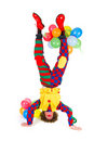 Funny clown in headstand Royalty Free Stock Photo