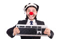 Funny clown with keyboard isolated on white Stock Images