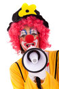 Funny clown with a megaphone Stock Photos