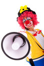Funny clown with a megaphone Stock Images