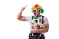 The funny clown with money sacks bags isolated on white background Royalty Free Stock Photo
