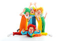 Funny clowns group of little isolated on white Stock Images