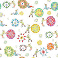 Funny clowns rolling abstract color balls and magic flowers up and down seamless pattern Stock Photo