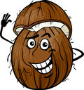 Funny coconut fruit cartoon illustration of food comic character Royalty Free Stock Image