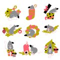 Funny collection of christmas rats. Symbol of 2020 year in chinese calendar. Vector cartoon isolated illustration.