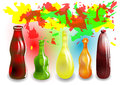 Funny colored drinks on multicolored background with splash Stock Photo