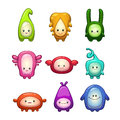 Funny colorful cartoon aliens set. Royalty Free Stock Photo