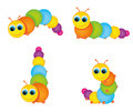 Funny colorful caterpillar in various poses Stock Photography