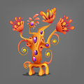 Funny colorful fantasy alien plants. Royalty Free Stock Photo