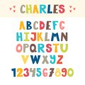 Funny colorful hand drawn English alphabet. Cute letters and numbers. Font