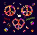 Funny colorful Peace Hippie Symbols set with flower-power, fly agaric, paisley, butterflies and rainbow for T shirt, bag, fashion