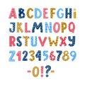 Funny colorful Scandinavian latin alphabet poster
