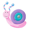 Funny colorful snail acrylic illustration of Stock Photography