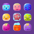 Funny Colorful Square Faces Set, Emotional Cartoon Royalty Free Stock Photo