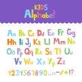 Funny Hand Drawn Coloured Alphabet ABC. Creative Vector Typography Concept