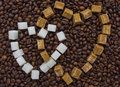 Funny composition of sugar in the form of two hearts Royalty Free Stock Photography