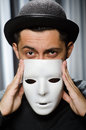 Funny concept with theatrical mask Royalty Free Stock Photography