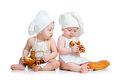 Funny cooks babies boy and girl on white backgroud Stock Images