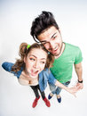 Funny couple arguing view from above wide angle shot dressed casual Stock Photography