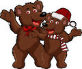 Funny couple christmas bear cartoon Royalty Free Stock Photo