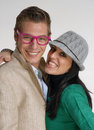 Funny couple happy young in casual style Stock Photography