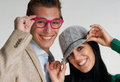 Funny couple happy young in casual style Royalty Free Stock Photography