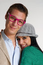 Funny couple happy young in casual style Stock Photo