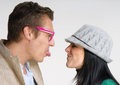Funny couple young expressive and making faces Stock Photography