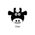 Funny cow icon. Silhouette vector icon