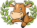 Funny Cow Peeks Out From Behin...