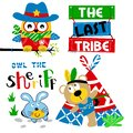 Funny cowboy animal cartoon vector set for baby