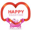 Funny crab with ribbon and happy vacation text red heart vector card template Royalty Free Stock Photos