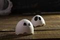 Funny cracked hen eggshell Royalty Free Stock Photo