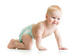 Funny crawling baby boy on white background Royalty Free Stock Photo