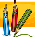 Funny crayons cartoon illustration Royalty Free Stock Photo