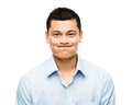 Funny crazy face man mixed race latino Stock Photos